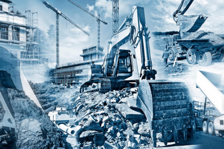 Verschiedene Baumaschinen bei Erdarbeiten Dortmund